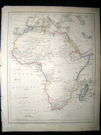 Becker C1840 Antique Map. Africa